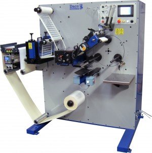 Daco PLD350 Rotary Die Cutter with Semi-Automatic Turret Rewinder for the efficient manufacture of plain labels.